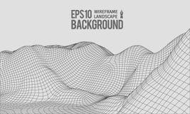 vector granangular EPS10 del terreno de 3D Wireframe Fotos de archivo