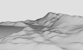 vector granangular EPS10 del terreno de 3D Wireframe Imagen de archivo libre de regalías