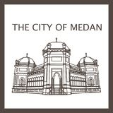The Grand Mosque of Medan vector illustration