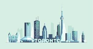 Vector grande de la silueta de la ciudad de Canadá del horizonte de Toronto stock de ilustración