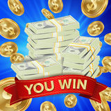 Vector grande del fondo del ganador Ejemplo del bote de las monedas de oro Bandera grande del triunfo Para el casino en línea, na Fotos de archivo