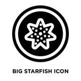 Vector grande del icono de las estrellas de mar aislado en el fondo blanco, logotipo concentrado ilustración del vector