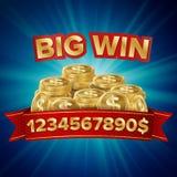 Vector grande del triunfo Fondo para el casino en línea, club de juego, póker, cartelera Ejemplo del bote de las monedas de oro Imagen de archivo libre de regalías