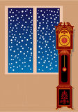 Vector grandfather clock with ornaments. Against snowflakes background. Fingers near 12 Royalty Free Stock Photos