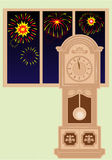 Vector grandfather clock in the room. Fireworks outside the window. Fingers near 12 Royalty Free Stock Photography