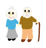 Vector grandmother with grandfather Stock Photo