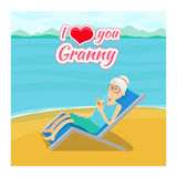 Vector grandparents day background. I love you Stock Photography