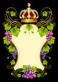 Vector grape frame with crown Royalty Free Stock Photography