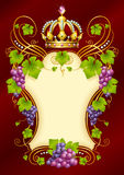 Vector grape frame with crown Stock Image