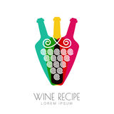 Vector grape vine and wine bottles, negative space logo design Stock Photos