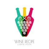 Vector grape vine and wine bottles, negative space logo design Stock Photos