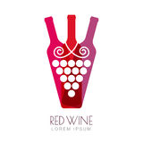 Vector grape vine and wine bottles, negative space logo design Royalty Free Stock Photo
