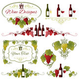 Vector Grapes and Wine Design. A set composed of eight various Grapes, Leaves and Wine ornaments Stock Photos