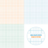 Vector graph paper seamless patterns set. Grid accented every inch Royalty Free Stock Images
