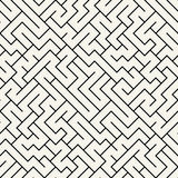 Vector graphic abstract geometry  maze pattern. black and white seamless geometric background Royalty Free Stock Photography