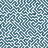 Vector graphic abstract geometry maze pattern. blue seamless geometric labyrinth background Royalty Free Stock Image
