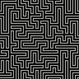 Vector graphic abstract geometry maze pattern. Black and white seamless geometric labyrinth background . subtle pillow and bed sheet design. unique art deco stock illustration