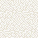 Vector graphic abstract geometry maze pattern. Golden seamless geometric background . subtle pillow and bed sheet design. unique art deco. hipster fashion stock illustration