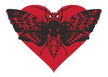 Banner with butterfly Dead head on red heart. Vector graphic abstract illustration of a butterfly Dead head with a skull-shaped pattern on the thorax. Black moth royalty free illustration