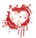 Watercolor abstract heart with red ink splashes. Vector graphic abstract illustration of heart with red ink blots, drops. Heart with bloody spots and splashes on royalty free illustration