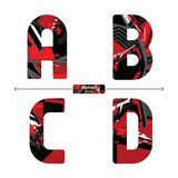 Alphabet abstract red style in a set ABCD stock illustration