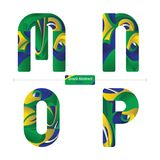 Alphabet brazil abstract style in a set MNOP. Vector graphic alphabet in a set M,N,O,P, with brazil abstract style Stock Photos