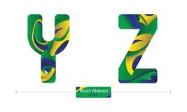 Alphabet brazil abstract style in a set YZ. Vector graphic alphabet in a set Y,Z, with brazil abstract style Stock Photography