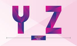 Alphabet purple color geometric style in a set YZ. Vector graphic alphabet in a set Y,Z, with purple color geometric style Stock Image