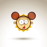 Vector graphic art drawing of curious kid face, hand drawn cute Royalty Free Stock Photo