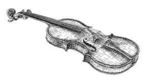 Vector illustration drawing of violin. Vector graphic arts sketch of drawing violin black pen Royalty Free Stock Images