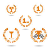 Vector. Graphic award icons. Cups for the first place, racing cup and racing flags. Isolated illustration. Vector. Graphic award icons. Cups for the first place Royalty Free Stock Images