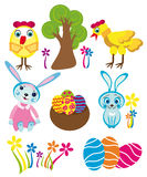 Easter symbols kit. Vector graphic background with beautiful colorful easter symbols Royalty Free Stock Image