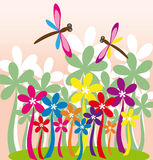 Flower garden with dragonflies Stock Photography