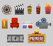 Cinema Watching Graphic. Vector graphic collection of  watching cinema Stock Photos