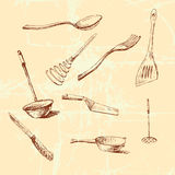 Vector graphic cookware set Stock Image