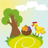 Tree, chicken and eggs. Vector graphic with cute chicken, easter eggs and big tree Stock Image
