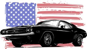 Vector graphic design illustration of an American muscle car. With stars and stripes flag isolated on white vector illustration