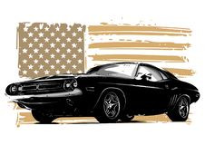 Vector graphic design illustration of an American muscle car royalty free illustration