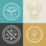 Vector graphic designer badges and logos in trendy linear style Royalty Free Stock Photography