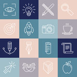 Vector graphic designer icons and badges in linear style. Tools and objects Stock Photos