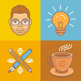 Vector graphic designer icons and signs Stock Photos