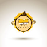 Vector graphic drawing of melancholy personality face, bizarre m Royalty Free Stock Photo