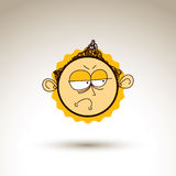 Vector graphic drawing of sad personality face, bizarre male por Royalty Free Stock Photography