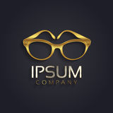 Vector graphic elegant glasses symbol for your company in gold with sample text in silver Stock Photo