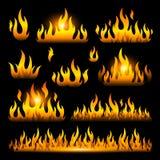 Vector graphic flames illustration on black. Background stock illustration
