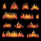 Vector graphic flames illustration isolated on black Stock Photos