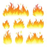 Vector graphic flames illustration isolated on white. Background stock illustration