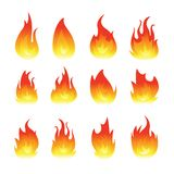 Vector graphic flames illustration isolated on white. Background royalty free illustration