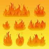 Vector graphic flames illustration isolated on white. Vector graphic flames illustration isolated on yellow background vector illustration