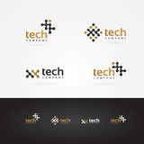 Vector graphic geometric tech symbol in gold and grey. Various vector graphic tech symbols in gold and grey vector illustration